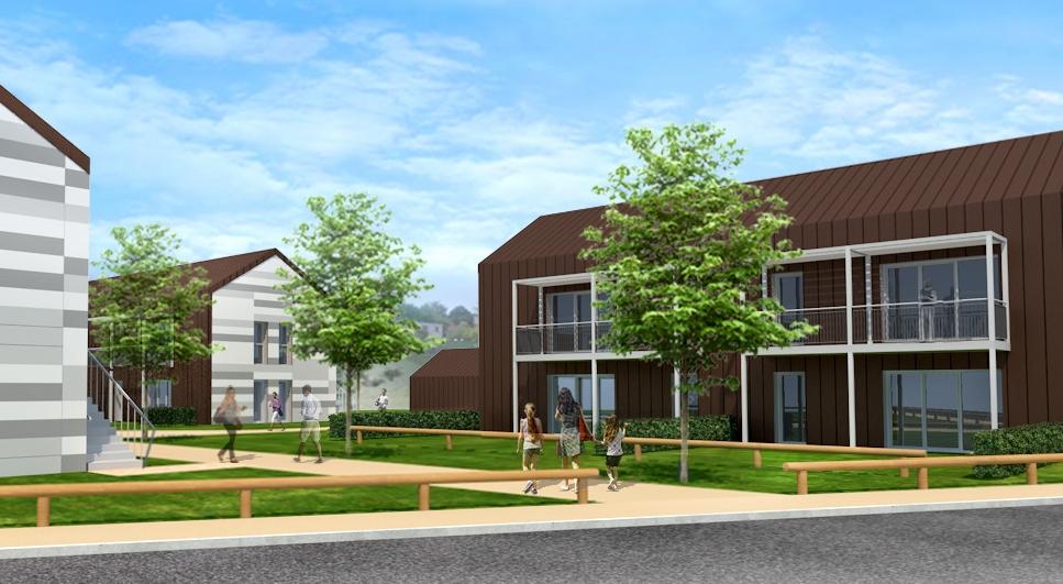 12 logements sociaux e+ c- habitat 70 - arc les gray - perspective détail